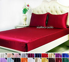 3 PCS 19MM 100% PURE SILK SATIN DEEP FITTED SHEET PILLOW CASES SET ALL SIZE
