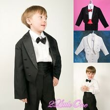 5 Pcs Set Black Formal Tuxedo Suit Wedding Christening Baby Boy Size 6m-8 #001A