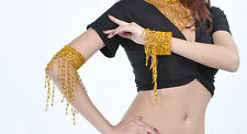 1 Pair Belly Dance Arm Bracelet wt elastic 2 Color Gold&SIlver