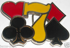 METAL YELLOW BELT BUCKLE LUCKY 7 SLIVER POKER CARD GAME