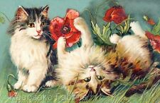 Cats & Red Poppies Reproduction Applique Multi Sizes