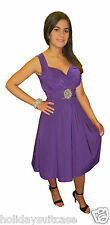 WOMANS LADIES EVENING SUMMER HOLIDAY PARTY TEA DRESS PURPLE  SIZE 12-26 UK