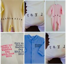 Funky PERSONALISED FRONT/BACK babygrow sleepsuit colour
