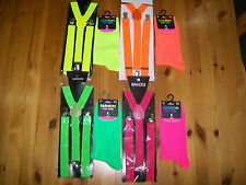 Neon UV Adjustable Gangster Braces & socks1 size Party