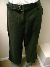 Charter Club Black Linen Cropped Pants w/Belt NWT $55