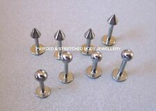 1mm x 6mm 1mm x 8mm 1.2mm x 6mm 1.2mm x 8mm Steel Labret with ball or cone