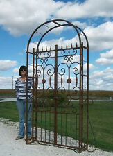 Really Big Metal Country French Garden Arbor Gate, Wrought Iron Trellis Gateway