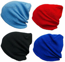 W63 MENS RIBBED WINTER WARM CHUNKY SLOUCH BAGGY LONG OVERSIZE BEANIE SKI HAT NEW