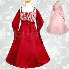 Wedding Flower Girl Bridesmaid Party Occasion Dresses with Shawl Age 2y-13y 047