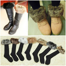 NEW Half Long Socks with Faux Fur Cover Fit Boot Stockings Hose 7Color pick