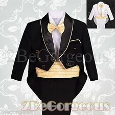 5pcs Formal Tuxedo Tail Suit Christening Baptism Wedding Page boy Baby 6m-7y 014