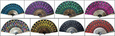 Embroidered Cloth Folding Hand Fan Bridal silk Flower (ship by tracking number)
