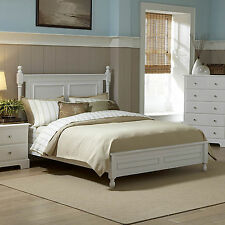 Cottage White Low Post Round Finials Wood Twin Full Queen King Cal King Size Bed