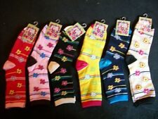 women's ladies multi color stripes & flowers casual crew socks gift idea for her