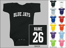 Blue Jays Baby One Piece, Creeper, Romper Personalized Custom Name & Number