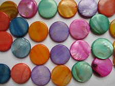 49 pcs Mother Of Pearl Round Disc Beads, 10 Colours Varieties, Free UK Postage