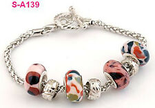 Free shipping 1pcs Leopard grain Lampwork beads European charm beaded bracelet