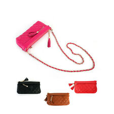 Genuine Leather Tassel Quilted Cross Body Bag with Detachable Gold Chain Strap
