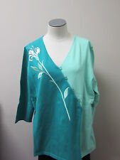 Bob Mackie's Flower Embroidered Sweater Green NWT