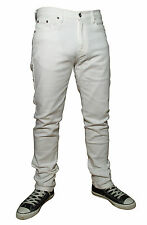 MENS SKINNY JEANS INDIE EMO PUNK ROCK RETRO NEW WHITE