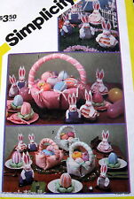 Vtg 80s Easter Bunny Fabric cloth basket pattern table ornament egg