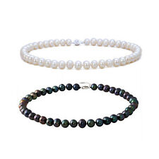 10-11mm Genuine Freshwater Cultured Pearls Necklace in Natural White / Dye Black