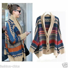VKC31228#53 CelebStyle Tribal Print Chunky Wool Cardigan