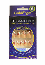 KISS GOLDFINGER GLUE-ON FASHION NAIL KIT 24 NAILS (CHOOSE FROM 15 STYLES)