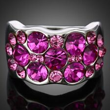 18k white GP Fuschia Rhinestone Pink  Cocktail Party Rings Swarovski Crystal
