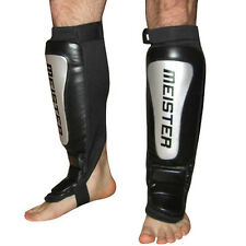 LEATHER SHIN & INSTEP GUARDS (Pair) w/ FREE BAG - Cowhide Meister MMA Muay Thai
