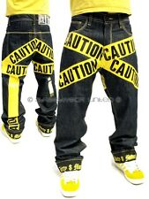 Yellow Caution Raw Time Turn Up Jeans Hip Hop Loose Fit is by Dirty Money ®
