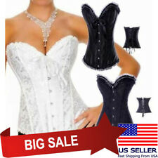 You Pick Sexy Hot Black White Corset Beaded Ruffle Lace Trim Floral Lace Up M-6X