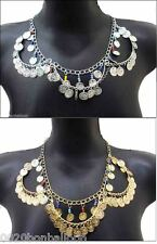 BELLY DANCE necklace egyptian gypsy tribal silver&gold    101