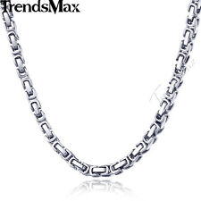 5MM Byzantine Box Link Silver Tone Stainless Steel Mens Chain Necklace 18-24inch