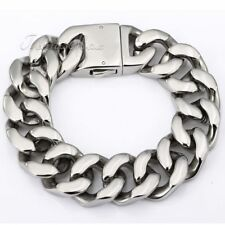 20MM Mens Chain Boy Silver Tone 316L Stainless Steel Curb Link Bracelet HEAVY