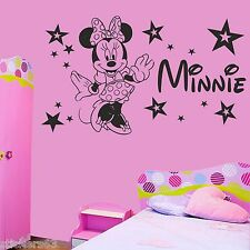 Personalised Minnie Mouse stars girls bedroom wall art sticker decal  any name
