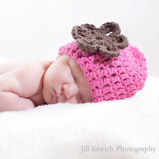 Pink Crochet Beanie with Chocalate Flower Baby Hat