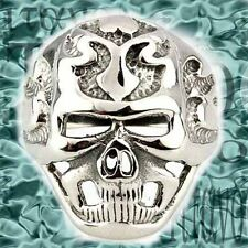 Stainless Steel Band Antiqued Gothic Skull Men's Ring