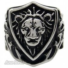 Men's Silver King Lion Knight Badge Stainless Steel Biker Ring US Size 8-13