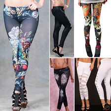 Punk Rock Jean Sexy Jegging Legging Sexy Stripes Tattoo Denim Stretch Pants USA