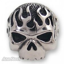 Men's Big Heavy Silver Skull Flame Biker Stainless Steel Ring US Size 8-13