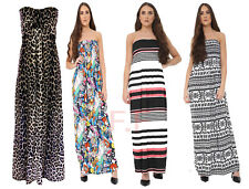 WOMENS LADIES LEOPARD PRINT KNOT FRONT BOOB TUBE STRAPLESS LONG MAXI DRESS 8/14
