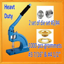 HAND PRESS HEAVY DUTY GROMMET MACHINE HOLE PUNCH 1000 GROMMETS # 3 & #4 Die