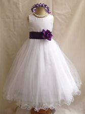 WHITE PURPLE WEDDING PAGEANT EASTER FLOWER GIRL DRESS 18M 24M 2 4 6 8 10 12 14