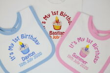 Personalised My 1st First Birthday Bib cupcake design can add date choose colour