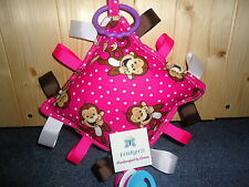 NWT Handcrafted JUNGLE BABIES/ANIMALS Pllow taggie w/ Binky HOlder