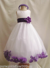 WHITE PURPLE WEDDING BRIDESMAID INFANT TODDLER PAGEANT DANCING FLOWER GIRL DRESS