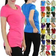 Pick Your Comfy Soft Knit Shortsleeve Crewneck T-Shirt Top Blouse Long Tunic