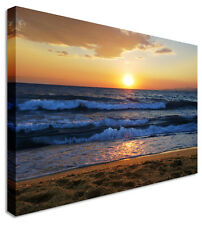 Folding Waves Sunset Seascape Canvas Pictures Wall Art Prints