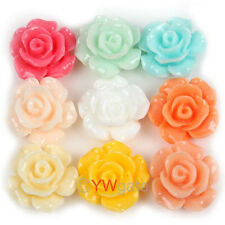 ONLY $1.97 Jewelry Lots 12pcs Resin Rose Flower Flatback Cabochon 13mm